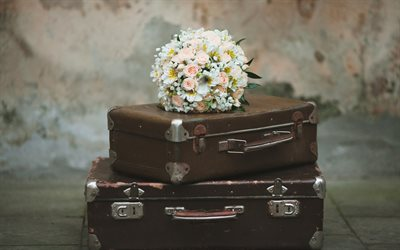 wedding bouquet, suitcases, honeymoon concepts, white roses, bouquet of the bride, wedding travel concepts