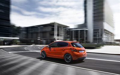 Peugeot 208, 2018, city cars, exterior, new orange 208, French cars, Peugeot