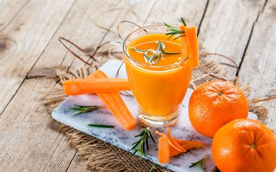carrot smoothies, healthy food, vegetable drinks, tangerines, carrots, orange smoothies