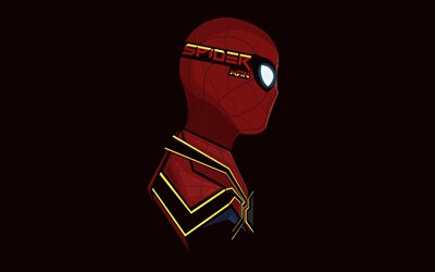 4k, Spiderman, minimal, superheroes, maroon background, DC Comics