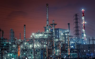 plant, industry, night, lights, refining, oil refining factory, pipes, gasoline production