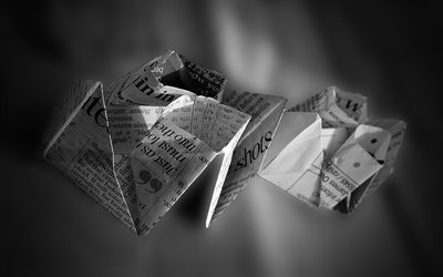 paper ships, 4k, monochrome, newspapers, blur, paper