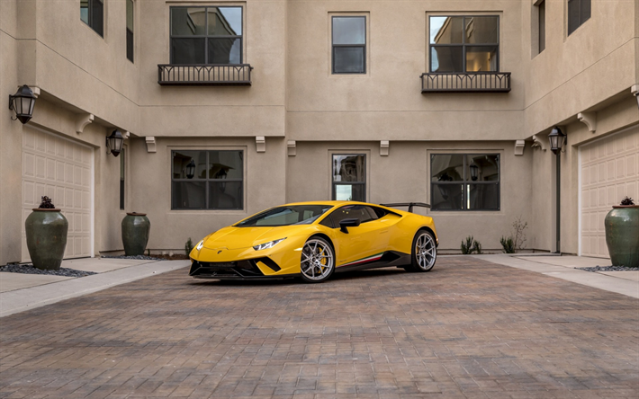 Lamborghini Huracan, 2018, sports coupe, racing cars, supercar, Italian sports cars, Yellow Huracan, Lamborghini