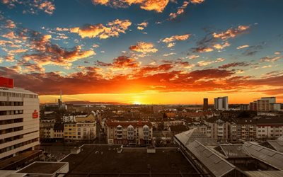 Leverkusen, 4k, sunset, skyline cityscapes, summer, german cities, Europe, Germany, Cities of Germany, Leverkusen Germany, cityscapes