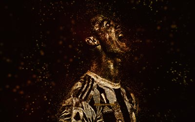 Cristiano Ronaldo, CR7, Juventus FC, golden glitter art, Portuguese footballer, black background, creative art, football