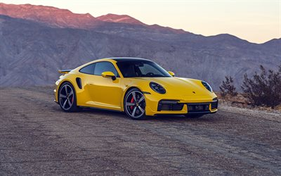 Porsche 911 Turbo, 4k, sunset, 2021 cars, supercars, 2021 Porsche 911 Turbo, german cars, Porsche