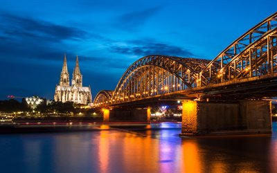 Cologne, Hohenzollern Bridge, Cologne Cathedral, Rhine, evening, sunset, Cologne cityscape, Germany