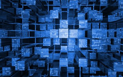 blue 3d cubes background, creative blue 3d cubes, digital 3d blue background, 3d columns background, blue cubes background, 3d cubes