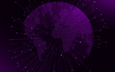 Purple digital globe, Purple digital background, global networks, dots globe silhouette, digital technology, Purple technology background