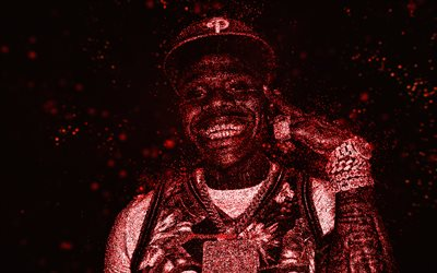 DaBaby, red glitter art, black background, American rapper, DaBaby art, Jonathan Lyndale Kirk