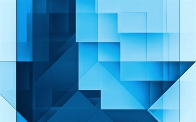 Blue abstract background, Blue geometric abstraction, Blue rectangles background, abstract background