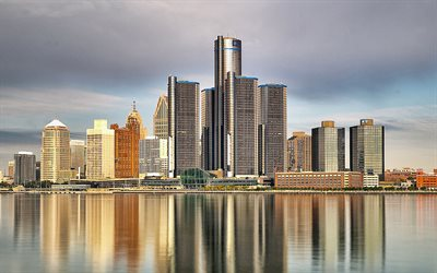 Detroit, evening, Lake Michigan, sunset, Detroit cityscape, Illinois, USA, Detroit Skyline