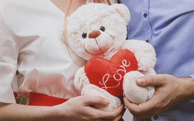 teddy bear in hand, love concepts, romance, teddy bear with red heart, couple of people, relationship