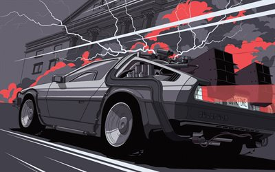 DeLorean time machine, back to the future, DeLorean, art, drawn car, DMC DeLorean
