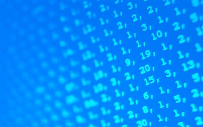 blue digits background, 4k, digits patterns, numbers patterns, background with digits, numbers, digits