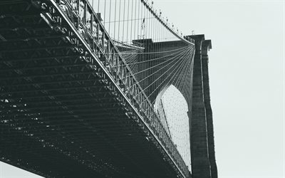 Brooklyn bridge, New York, Brooklyn, Svartvitt, Manhattan, USA, Retro-foto
