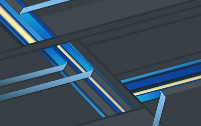 4k, android, gray and blue, lines, lollipop, strips, geometric shapes, material design, creative, geometry, dark background