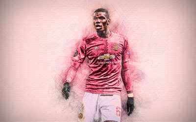 Download Wallpapers Paul Pogba 4k Artwork Football Stars Manchester United Pogba Soccer Mu Premier League Man United Footballers Drawing Pogba Fc Manchester United For Desktop Free Pictures For Desktop Free
