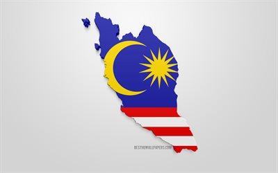 Lataa Kuva 3d Lippu Malesia Kartta Siluetti Malesia 3d Art