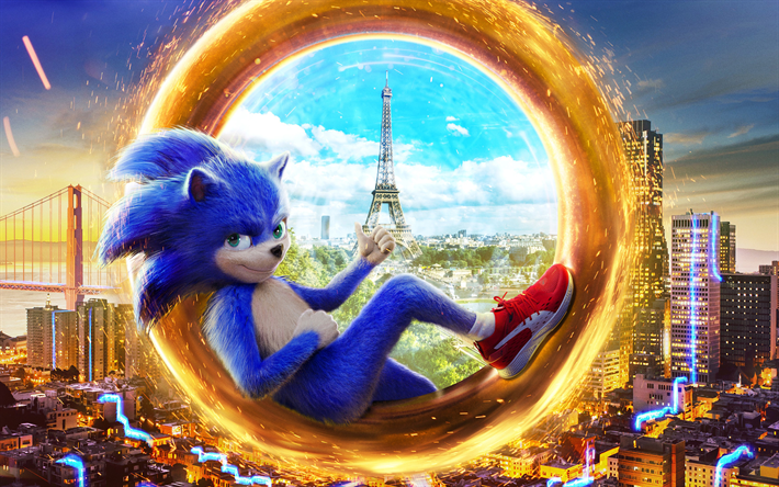 Sonic The Hedgehog, 2019, 4k, promotional materials, poster, characters, Sonic, Eiffel Tower