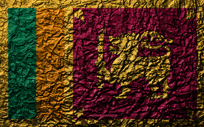 Flag of Sri Lanka, 4k, stone texture, waves texture, Sri Lanka flag, national symbol, Sri Lanka, Asia, stone background