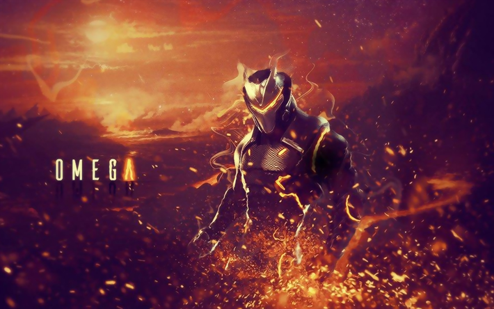 Omega, créatif, Fortnite Battle Royale, fan art, 2019 jeux, Fortnite, l'Exécution de l'Oméga, les cyber-guerriers, Omega Fortnite