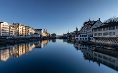 Zurich, morning, sunrise, cityscape, beautiful city, Switzerland
