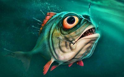 cartoon piranha, 3D art, underwater world, predator, cartoon fish, piranha