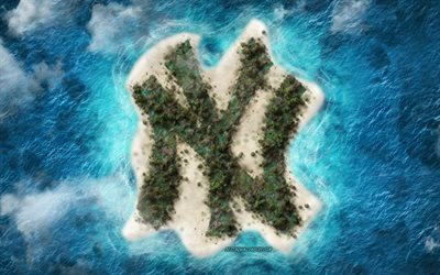 New York Yankees, logo, tropical island, American baseball club, creative logo, creative art, Major League Baseball, USA, New York