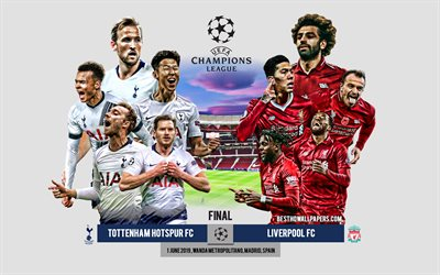 Tottenham Hotspur FC vs Liverpool FC, promo, 2019 UEFA Champions League Final, footballers, team leaders, football, Wanda Metropolitano, June 1, 2019, UEFA Champions Lague, football match
