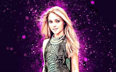 AnnaSophia Robb, 4k, violet neon lights, american actress, Hollywood, american celebrity, creative, AnnaSophia Robb 4K