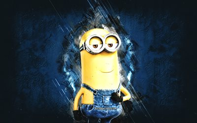 Tim, Despicable Me, minions, Tim the Minion, blue stone background, Despicable Me characters, Tim minion
