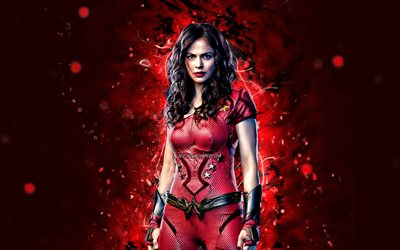 Donna Troy, 4k, red neon lights, superheroes, DC Comics, Conor Leslie, Wonder Girl, Donna Troy 4K