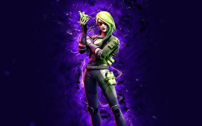 Toxin, 4k, violet neon lights, Fortnite Battle Royale, Fortnite characters, Toxin Skin, Fortnite, Toxin Fortnite