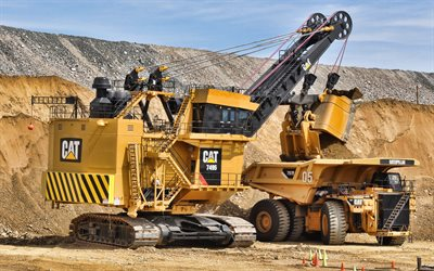 Cat 7495 HF, Rope Excavator, Cat 797F, Mining Truck, Construction Vehicles, Excavator, Rock Mining, Quarry, Caterpillar