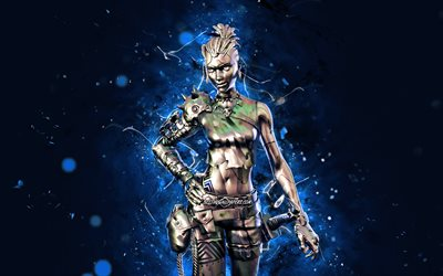Chromium Tarana, 4k, blue neon lights, Fortnite Battle Royale, Fortnite characters, Chromium Tarana Skin, Fortnite, Chromium Tarana Fortnite