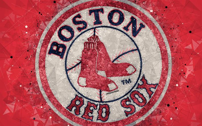 check out 6f4fa 73737 Boston Red Sox, 4k, art, logo, american baseball club, geometric art