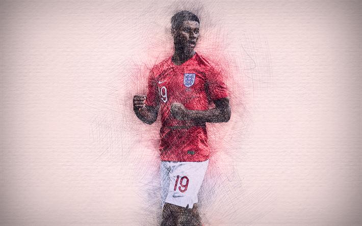 Download Wallpapers 4k Marcus Rashford English Football Team Artwork Soccer Rashford Footballers Drawing Marcus Rashford England National Team For Desktop Free Pictures For Desktop Free