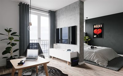 stylish apartment, modern design interior, living room, bedroom, gray walls, gray modern style