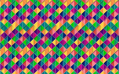 4k, triangles, mosaic, art, geometry, polygons, abstract textute, abstract art, geometric shapes