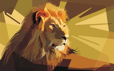 lion, kunst, low-poly, kreative abstraktion, die abstrakte kunst tiere