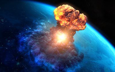 apocalypse, end of the world, explosion, meteorite, Earth, fantasy