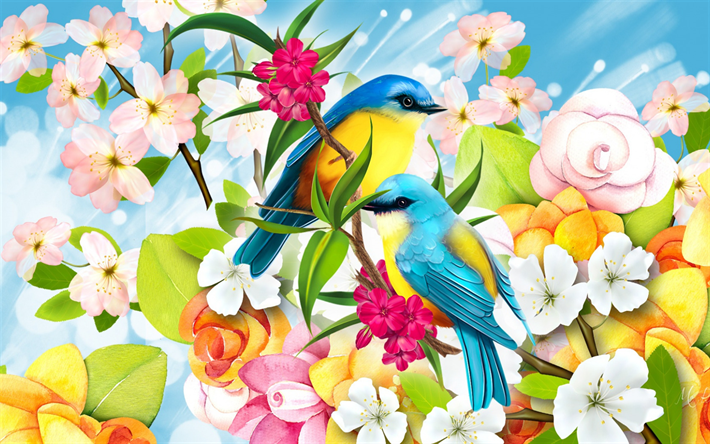 painted birds, blue-yellow birds, branch, drawing, art, spring flowers, picture with birds