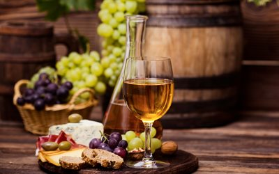 white wine, grapes, wooden barrel, wine cellar, wine tasting concepts