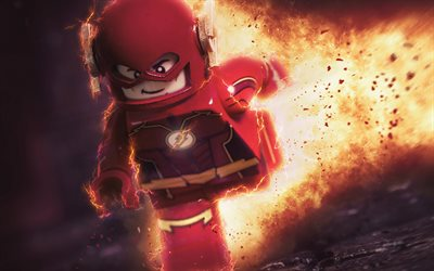 Flash, 4k, superheroes, 3d-animation, LEGO