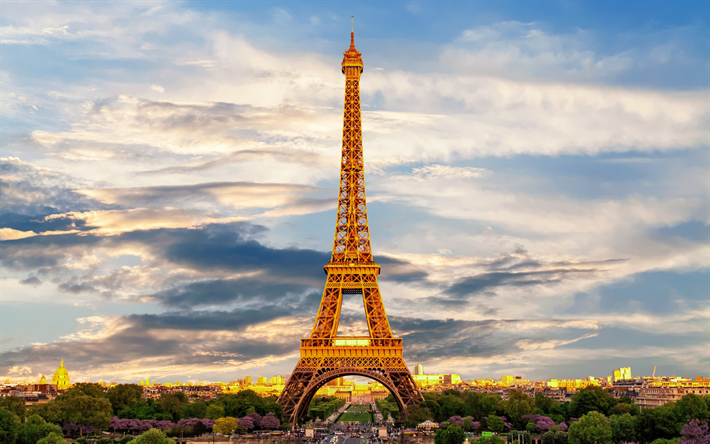 Eiffel Tower, Champs Elysees, evening, sunset, Paris, France, interesting place, landmarks, The Avenue des Champs-Elysees