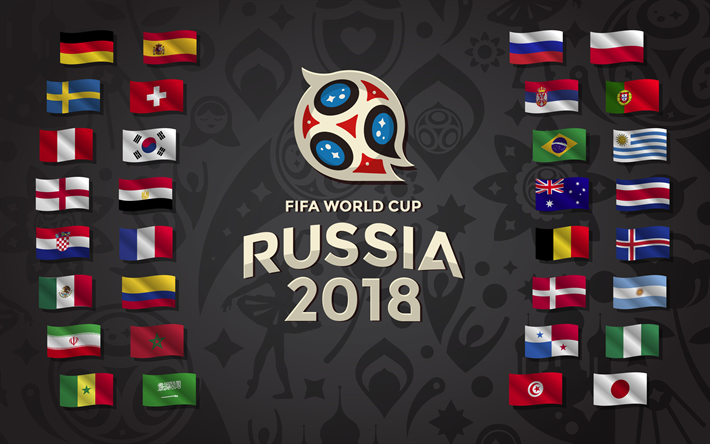 4k, FIFA World Cup 2018, all flags, Russia 2018, FIFA World Cup Russia 2018, soccer, FIFA, football, logo, Soccer World Cup 2018, creative
