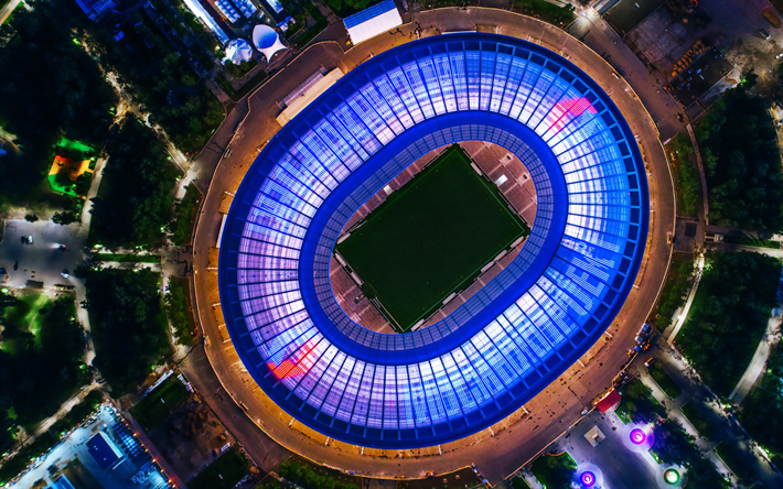 2018 FIFA World Cup Russia, Luzhniki Stadium, Moscow, sports arena, top view, roof lighting, evening, night, football stadium, view from the heights, modern stadium, Russia