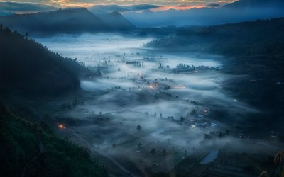 Bali, valley, fog, nightscapes, Indonesia, beautiful nature, Asia