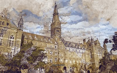 Georgetown University, Washington, USA, grunge art, creative art, painted Georgetown University, drawing, Georgetown University grunge, digital art